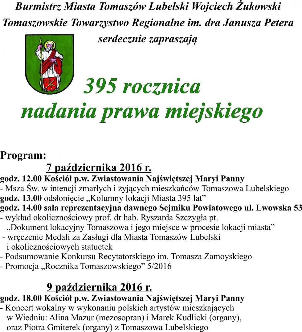 395 lat Tomaszowa Lubelskiego