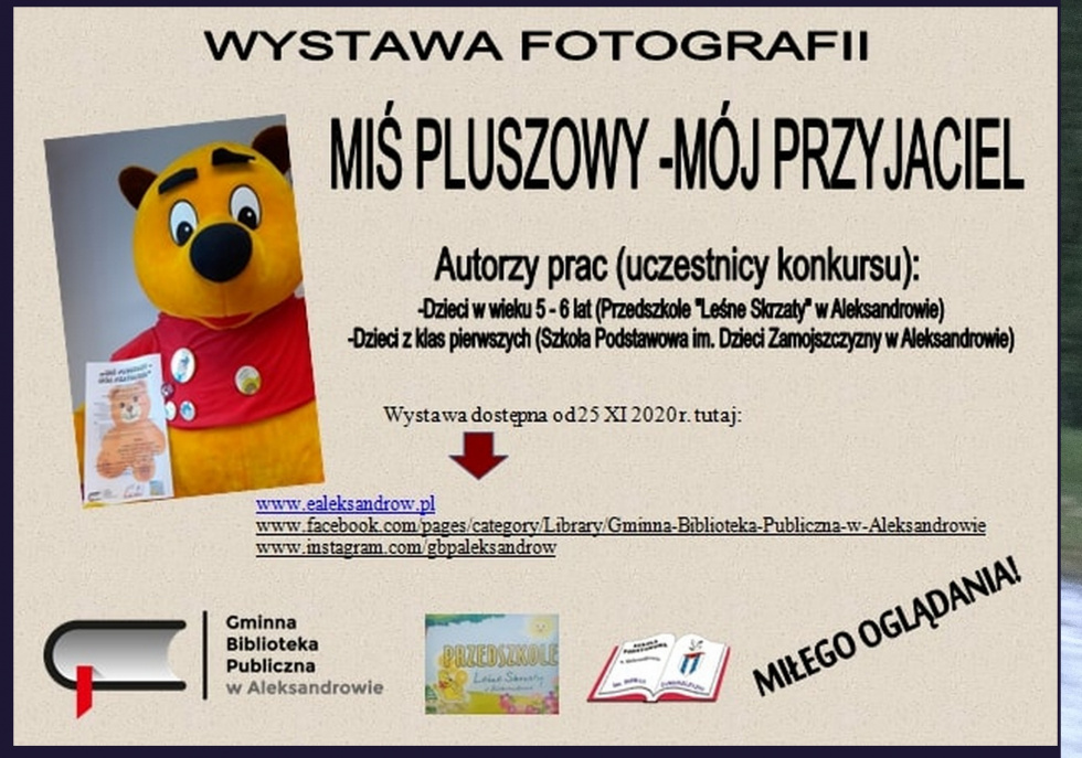 Aleksandrów. Wystawa fotografii 'Miś pluszowy-mój przyjaciel'