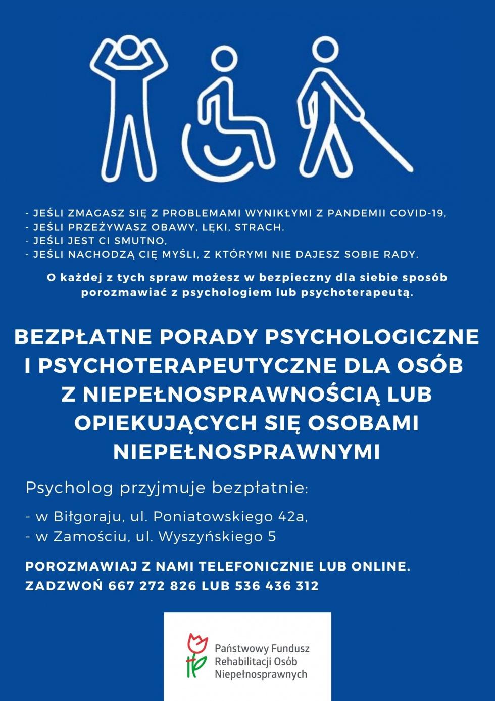 Biłgoraj. Bezpłatne porady psychologiczne dla osób niepełnosprawnych