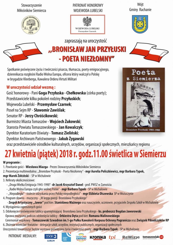 BRONISŁAW JAN PRZYŁUSKI - POETA NIEZŁOMNY 27.04.2018