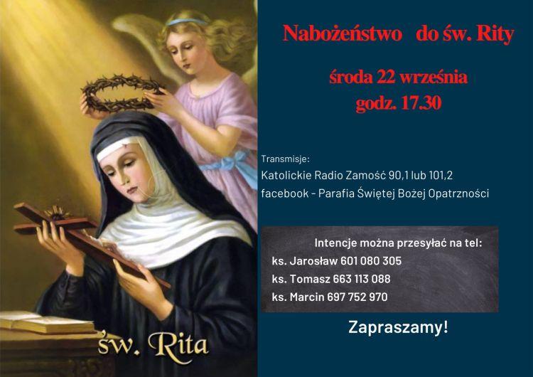Nabożeństwo do św. Rity - wrzesień 2021