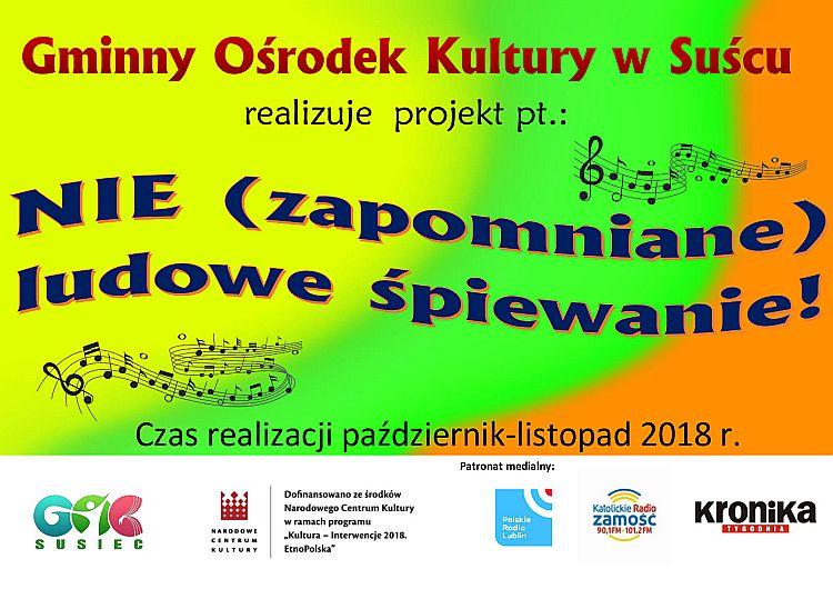 """Projekt """"Nie (zapomniane) ludowe śpiewanie!"""" w Suścu"""