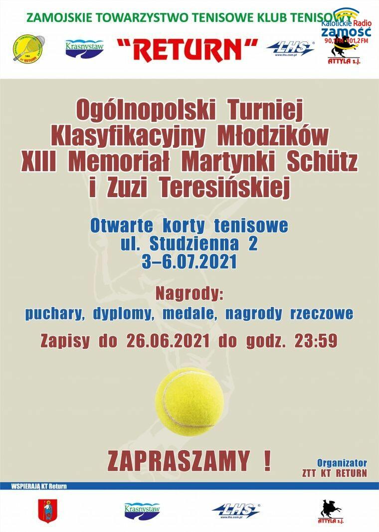 """Tenisowy turniej """"Memoriał Martynki Schütz i Zuzi Teresińskiej"""""""