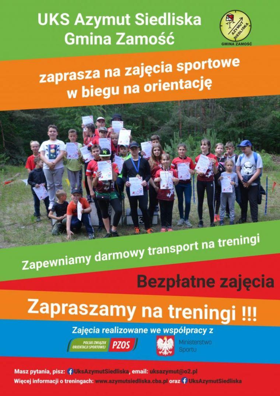 UKS Azymut Siedliska Gmina Zamość zaprasza na bezpłatne zajęcia sportowe…