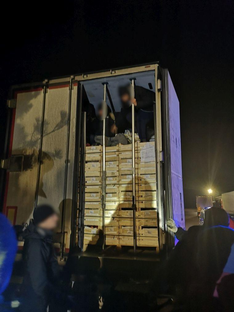 Zatrzymano nielegalnych migrantów w naczepie tira